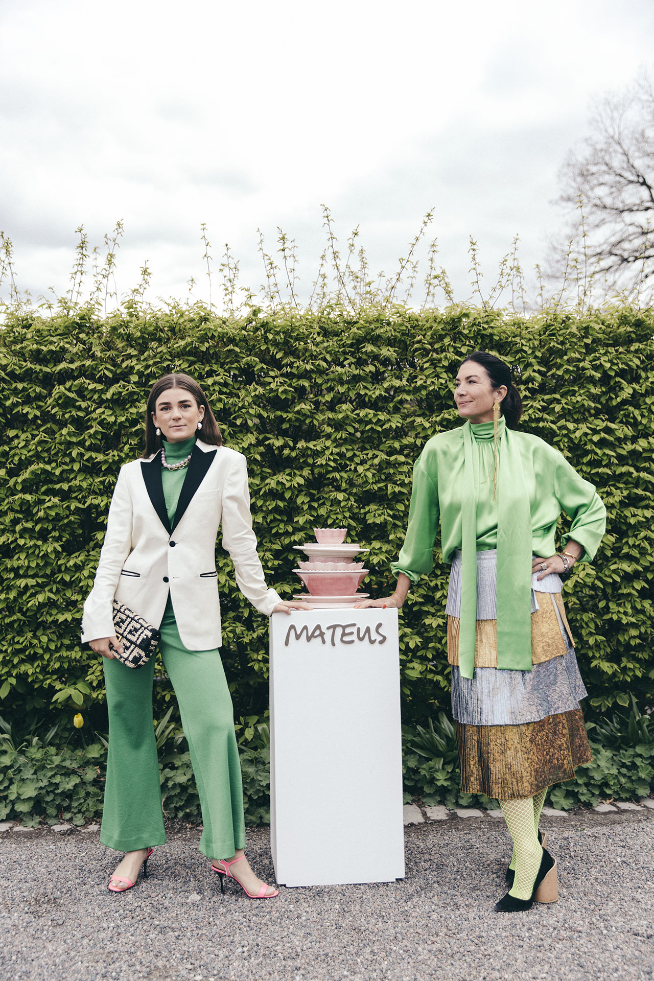Mother and daughter Annica and Linn Eklund at Mateus Meets Fashion 2019, Stockholm, Sweden. Photo by Rasmus Lindahl © Mateus.
