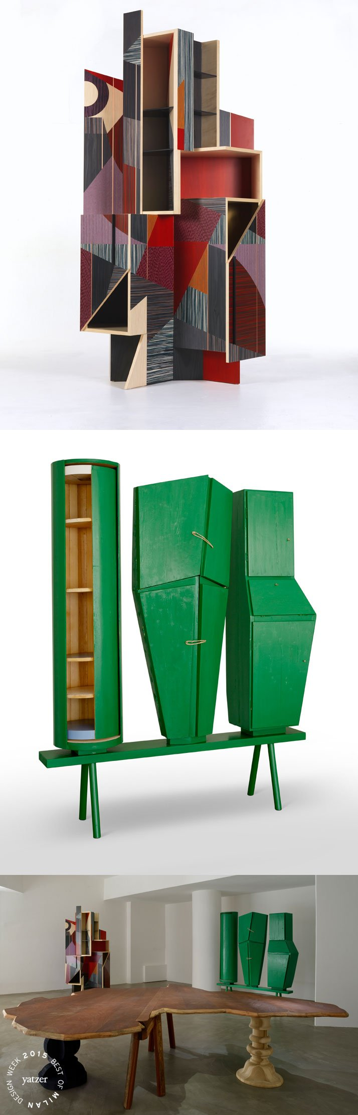 9 + uno (nine plus one) exhibition at DILMOS Gallery. From top to bottom:> Magico3 cabinet by Alessandro Mendini, a 3-piece edition // 215x110x57cm // 2010. > African Farfalla folding table by Francesco Binfare. // width 270cm x length 308cm x height 76.5cm // Materials: Sapele Mahogany wood; hollow-cored panels clad with Feather Mahogany and veneered in Brazilian Rosewood; finished with protective natural oils that accentuate the natural woodgrain. Hinges and closing devices in brass. // 2014.> Mobile Frontale sculpture-cabinet by Pietro Consagra // painted wood // 200x168x38cm // 1956/ 2015.