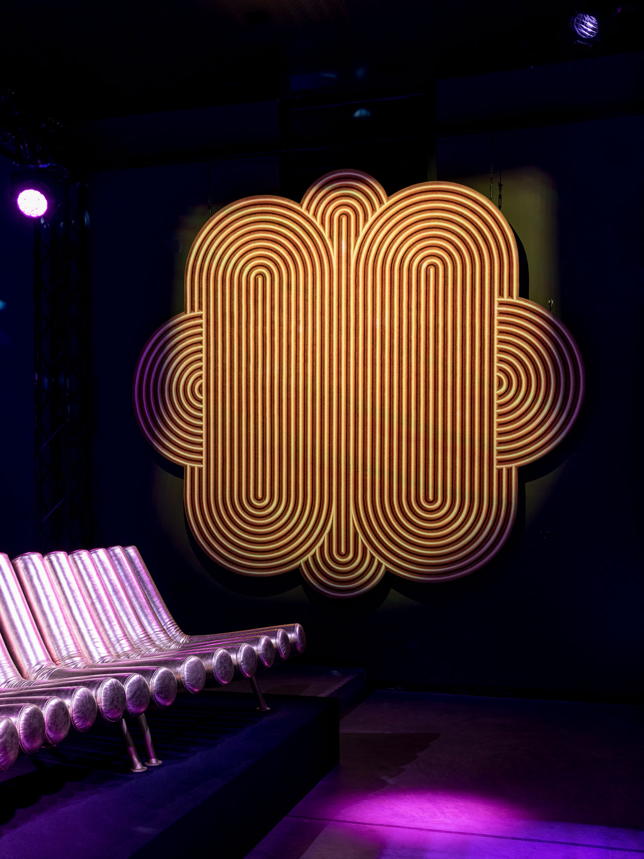 DANCE FLOOR rug by Gaëlle Gabillet et Stéphane Villard/GGSV and JIMMY sofa by Atelier Biagetti from the Disco Gufram collection.Photo by Delfino Sisto Legnani e Marco Cappelletti.