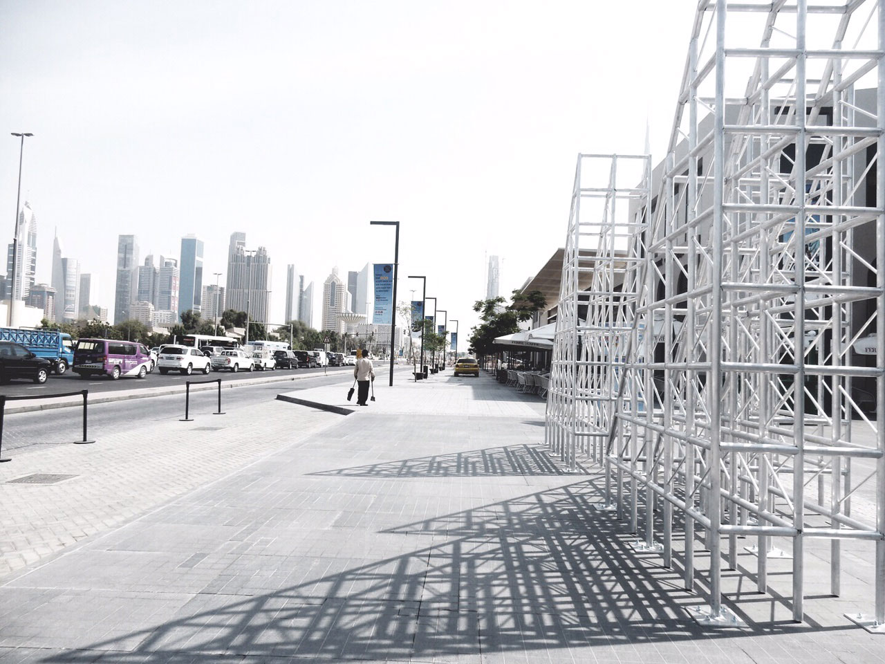 The SCAFFOLDING/ TRUSS.T by Arab conceptual artist Zeinab Al Hashemi, inspired in part by the Emirate's graceful and historic Arabic dhow sailing boats, and part by Dubai's constant evolution through transformative construction.  {TRUSS / trəs/ noun; plural noun: trusses: a framework, typically consisting of rafters, posts, and struts, supporting a roof, bridge, or other structure.}