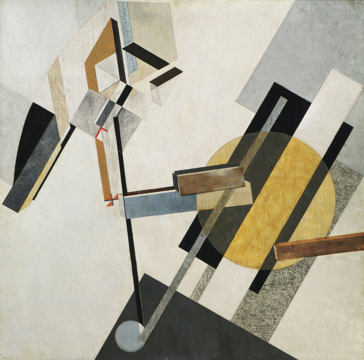 """El Lissitzky, Proun 19D(1920 or 1921) On view at The Museum of ModernArt, Floor5, Collection Galleries. Medium: Gesso, oil, varnish, crayon, colored papers, sandpaper, graph paper, cardboard, metallic paint, and metal foil on plywoodDimensions: 38 3/8 x 38 1/4"""" (97.5 x 97.2 cm)Credit: Katherine S. Dreier BequestCopyright © 2018 Artists Rights Society (ARS), New York / VG Bild-Kunst, Bonn. source MOMA.'for illustrative purposes only'"""