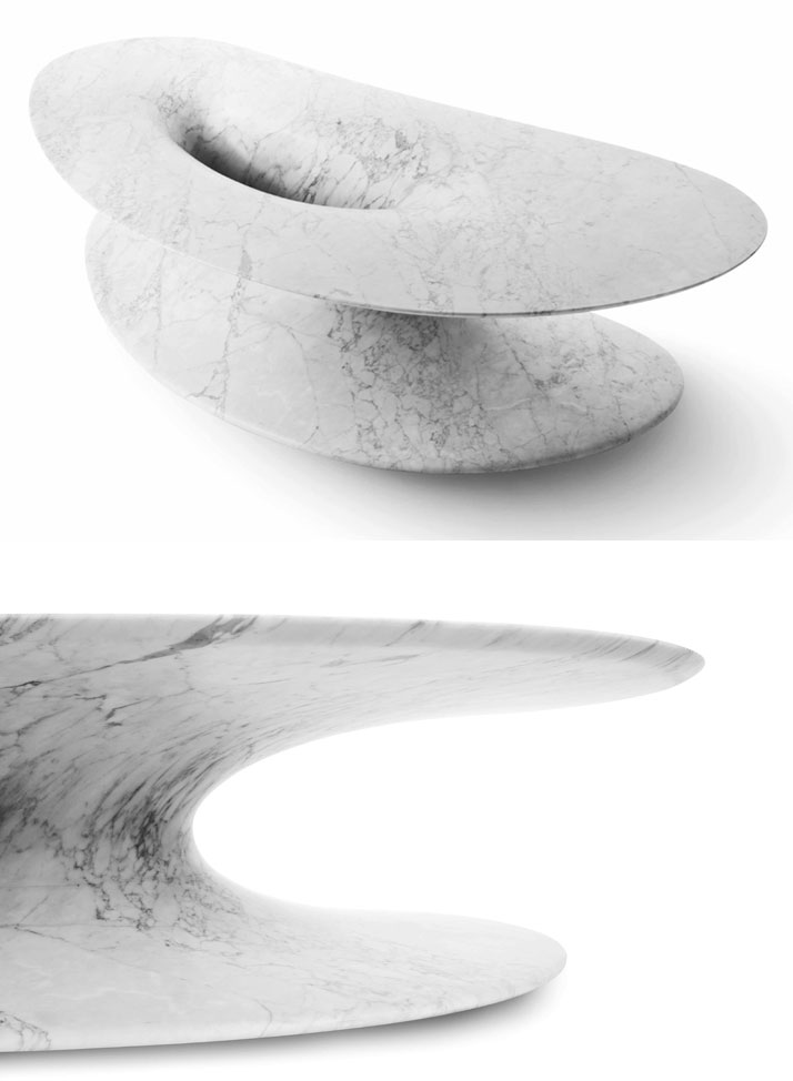 Origin low table in white Carrara marble by Emmanuel Babled.