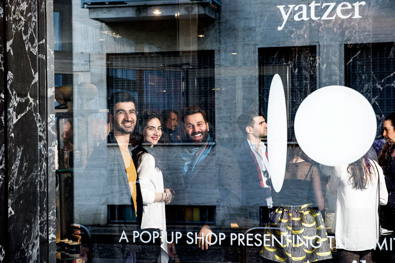 Yatzer's team at the opening of the pop-up shop in Milan on Monday 11 April 2016. Kiriakos Spirou, Sara Panagiotopoulou, Costas Voyatzis. Photo by Fabrizio Annibali.