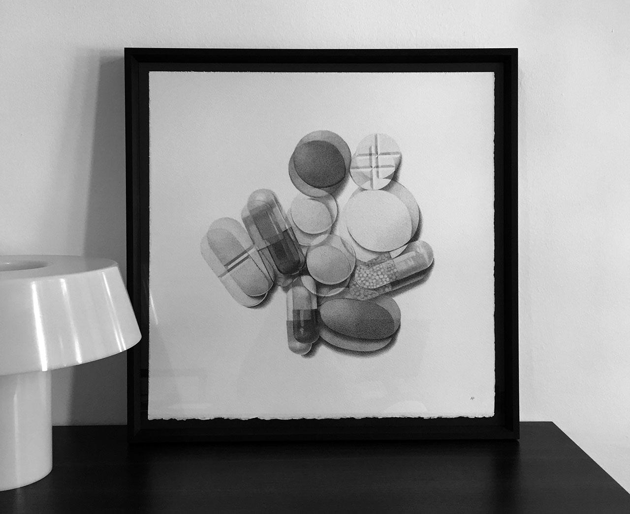 Alessandro Paglia,DOUBLE VISION PILLS, 56 x 56 cm unframed.