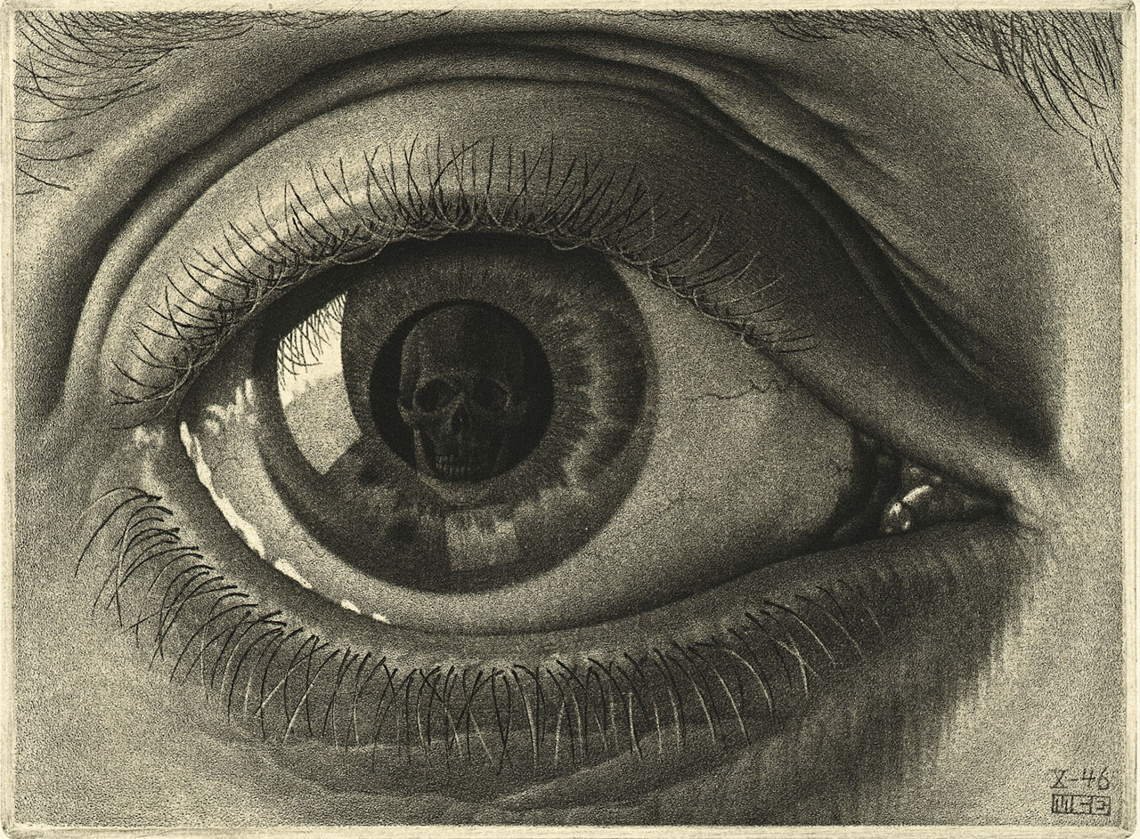 M. C. Escher, Eye, October 1946, mezzotint, 7th state. Escher Collection, Gemeentemuseum Den Haag, The Hague, the Netherlands © The M. C. Escher Company, the Netherlands. All rights reserved.