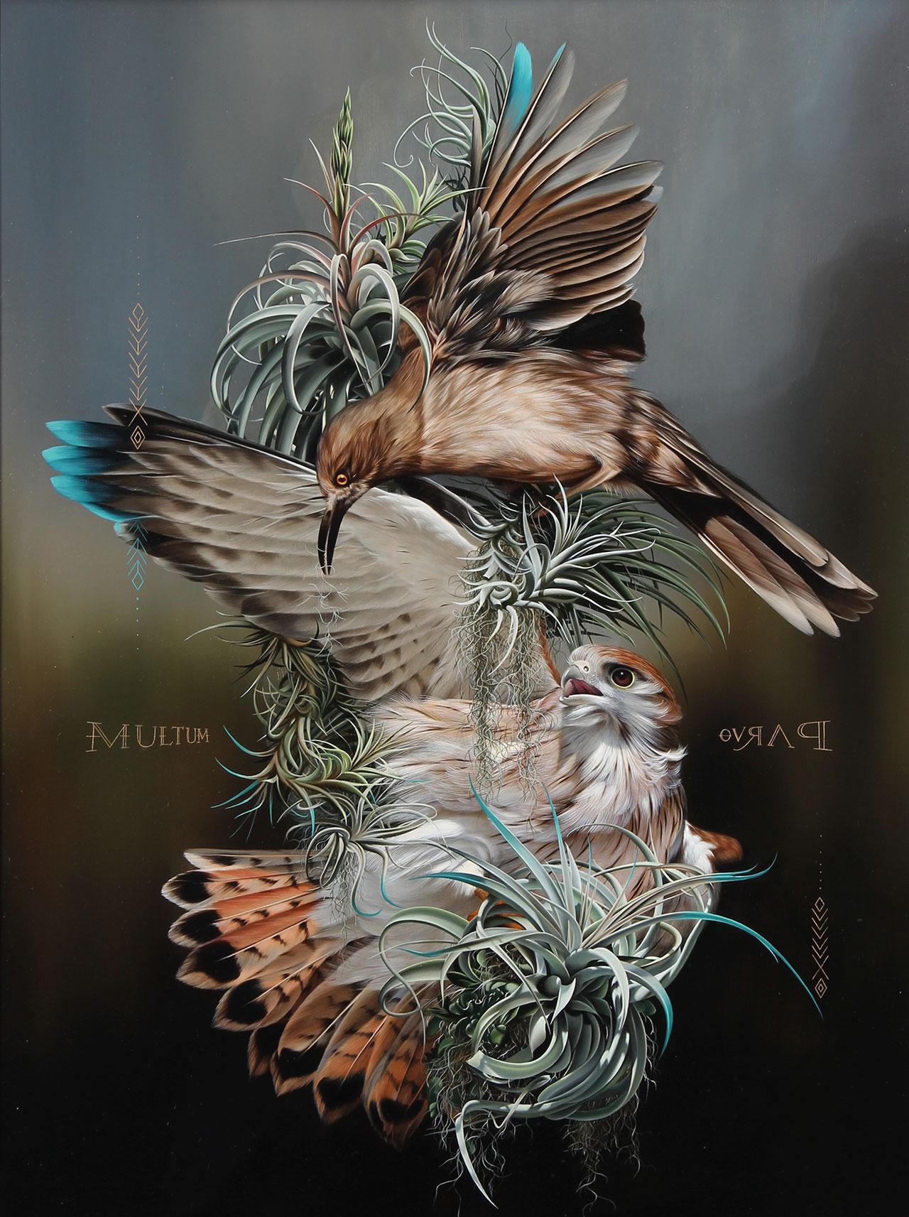 Josie Morway,Symbiotes,oil and enamel on wood panel. ©Josie Morway.