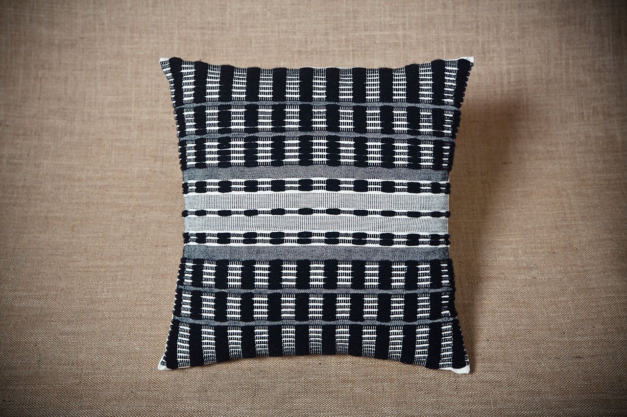 Grey Rhythm, Handwoven cushion cover, 42 x 42cm envelope back. Cotton, wool, acrylic. Photo by Panagiotis Mina.