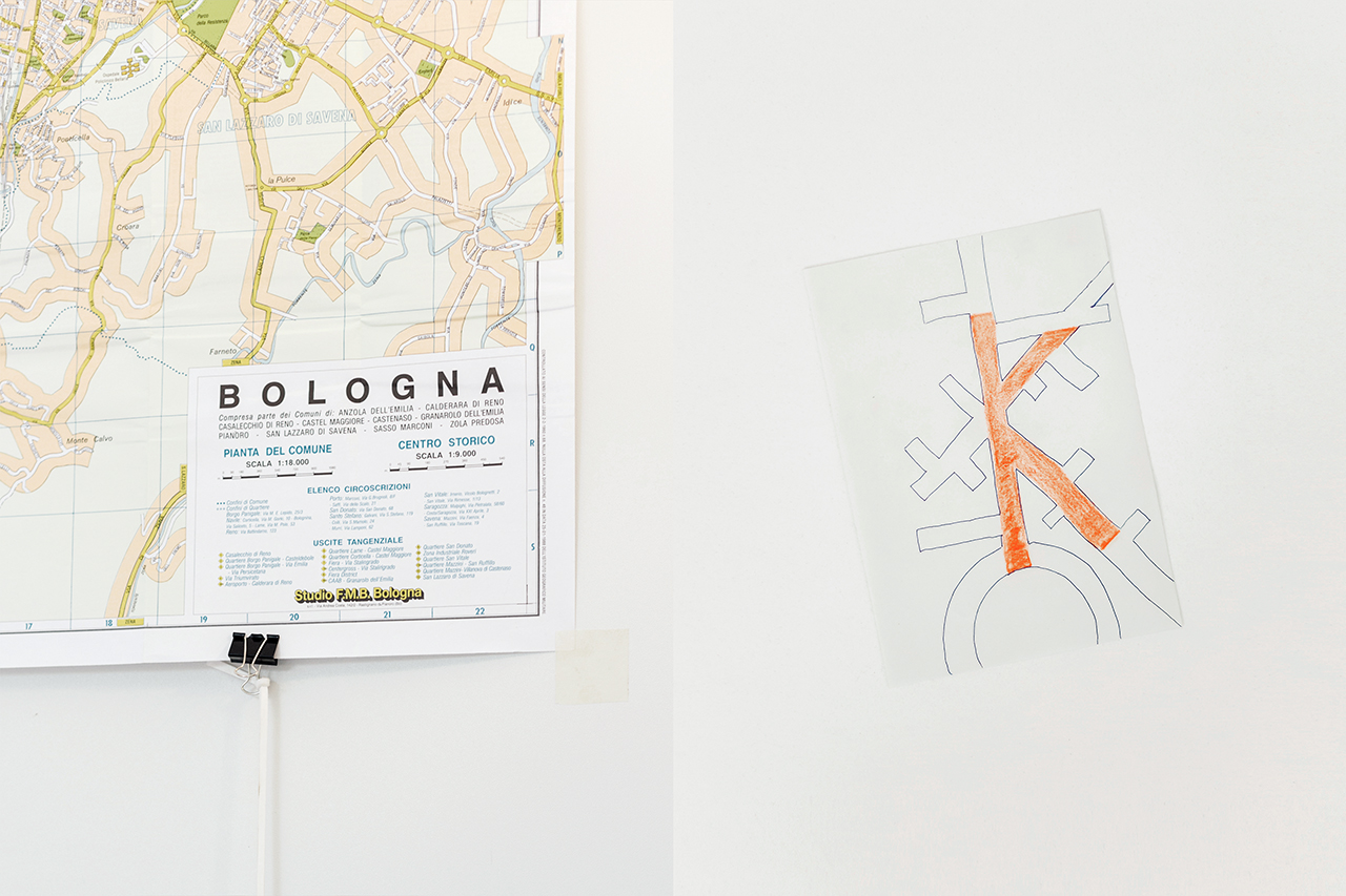 K _ by Christian Baraldi Bologna map (Paper, ink pen, colored pencil) Photo by Francesca Iovene.
