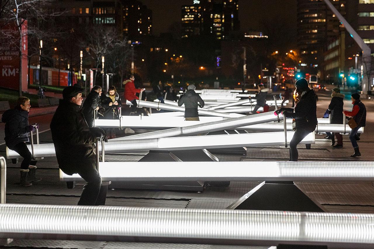 Impulse, Luminothérapie by Lateral Office,Place des Arts, Montreal, QC, 2016. Photo byUlysse Lemerise / OSA.