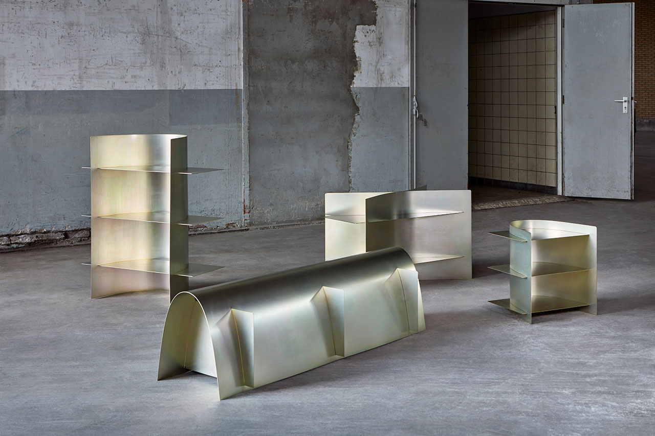 Paul Coenen, Borders of Assembly. A furniture collection inspired by the flexibility of sheet metal and the standard sizes used in the manufacturing industry. © Design Academy Eindhoven. Photo by Ronald Smits.