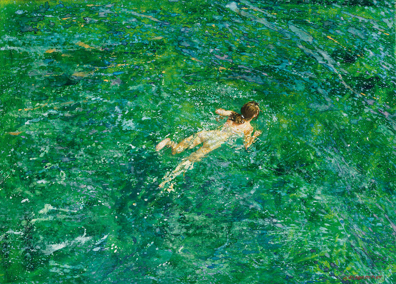 Maria Filopoulou, Swimmer, 2000. Oil on canvas, 44 x 60cm.