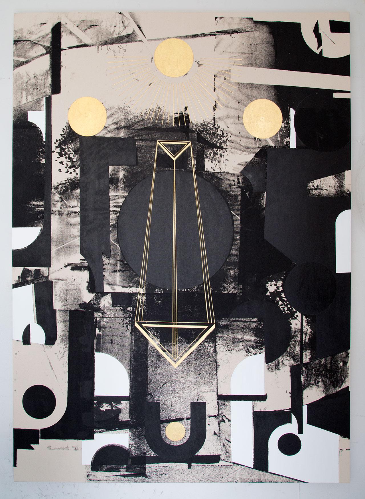 Panos Tsagaris, Untitled, gold leaf, acrylic paint and silkscreen on canvas, 180 x 130 cm, 2016. Courtesy of the artist, MLFIMarie-Laure Fleisch, (Rome-Brussels)Kalfayan Galleries, (Athens-Thessaloniki).