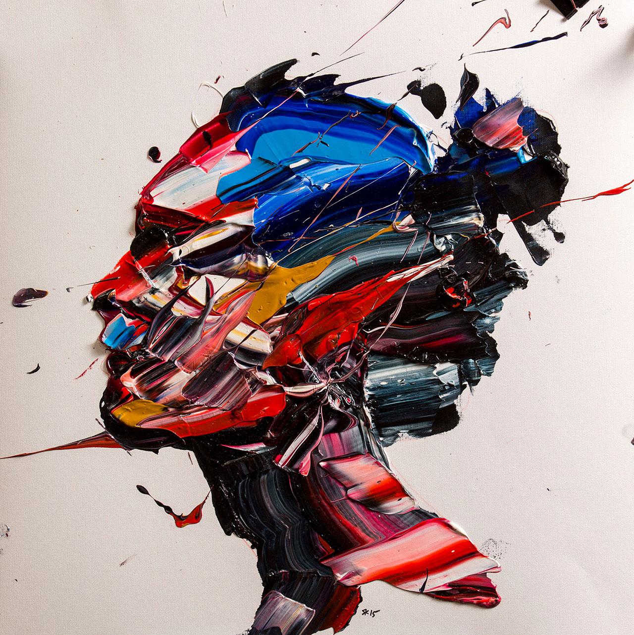 Salman Khoshroo, Sabke Sevvom Exhibition study,oil on paper, 50x50cm.