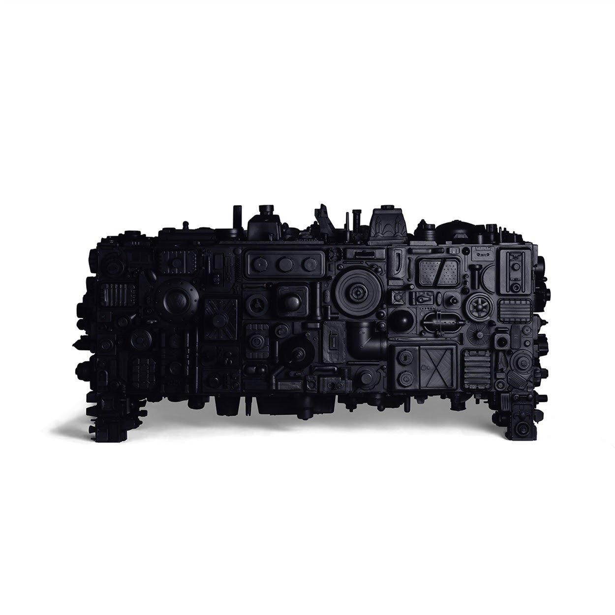 Stuart Haygarth,Barnacle(Black), 2009. Black polyester resin, steel, painted MDF. Photo courtesy Carpenters Workshop Gallery.
