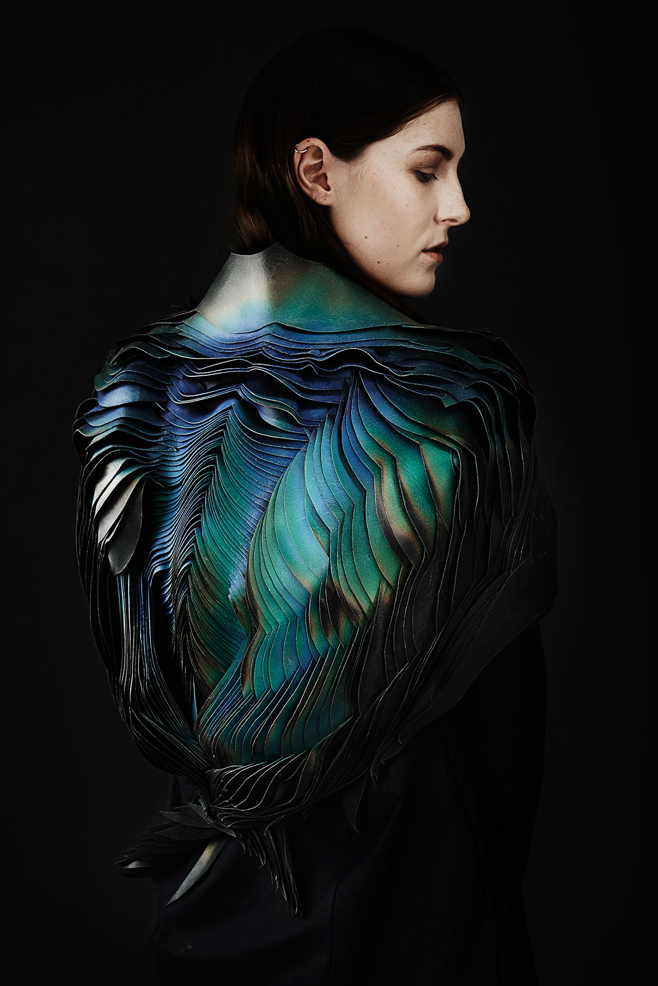 TheUnseen: Lauren Bowker, Jacket, from the AIR collection, 2014, Leather, wind-reactive ink. Jonny Lee Photography © TheUnseen.
