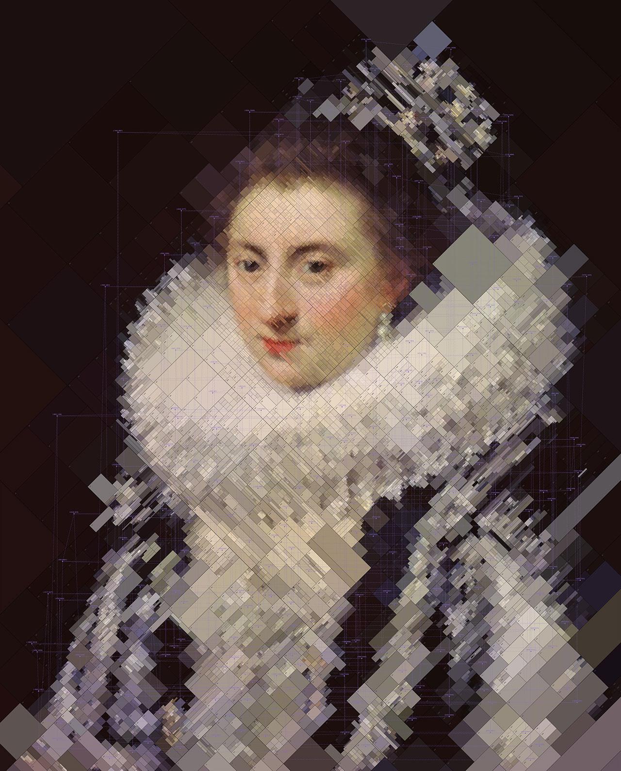 Portrait of Ernestine Yolande, from Portraits series by Dimitris Ladopoulos (Original paintingby Jan Anthonisz van Ravesteyn,1594-1663).