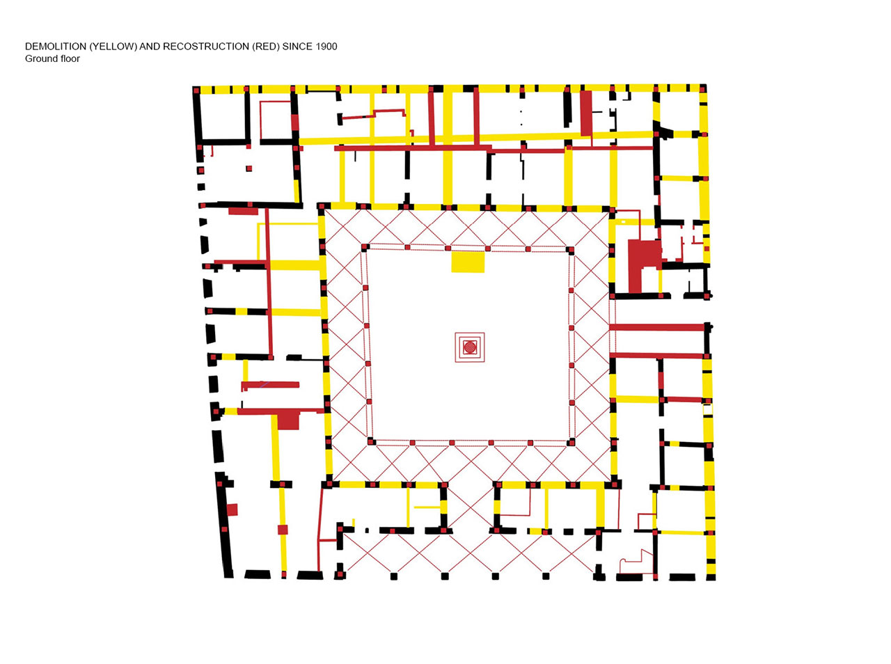 Il Fondaco dei Tedeschi, ground floor plan with demolition (yellow) and construction (red) since 1900. Image courtesy OMA.