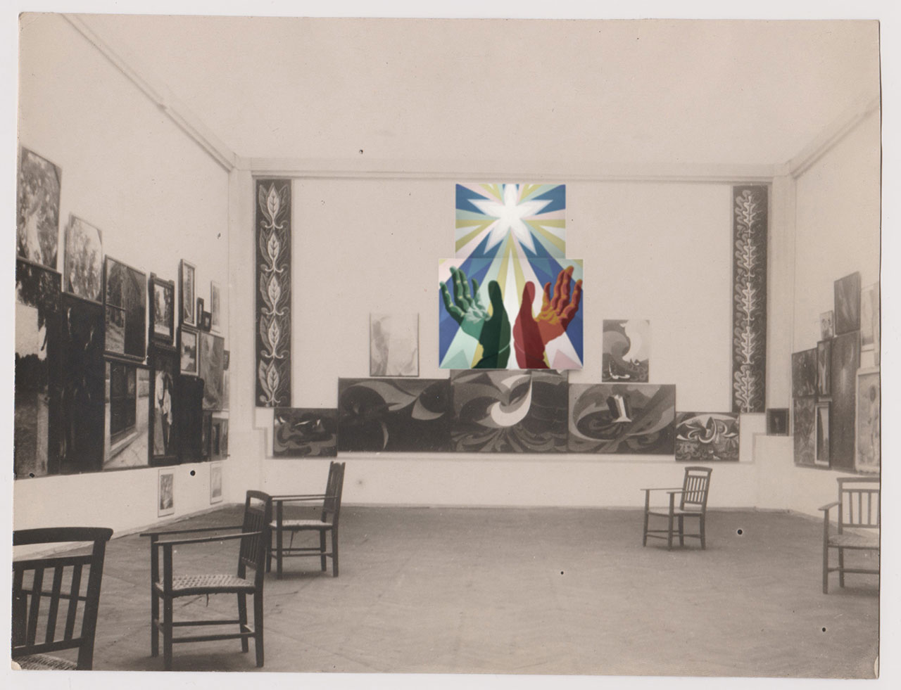 "Rendered photographic image for ""Post Zang Tumb Tuuum"" (Fondazione Prada, Milan, 2018). Photo of the Esposizione Internazionale di Belle Arti della Società Amatori e Cultori di Belle Arti in Roma, room VII Amatori e Cultori, 1928. Among the exhibited works: Quadro fascista (also known as Le mani del popolo italiano) (1925) by Giacomo Balla - For the work © Giacomo Balla by SIAE 2018."