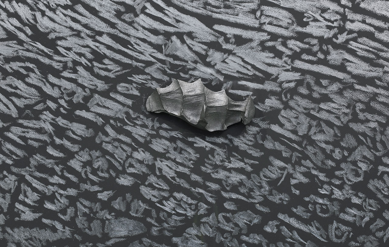 Giuseppe Penone, Pugno di grafite – palpebra (Handful of graphite –eyelid) (detail), 2012. Graphite on black canvas, graphite. 98 13/16 x 51 15/16 x 3 7/8 in. (251 x 132 x 10 cm). Plexiglas: 102 ¾ x 55 11/16 in. (261 x 141.5). Photo by Rebecca Fanuele. Courtesy the artist and Marian Goodman Gallery.
