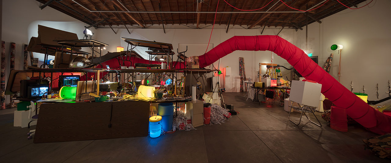 Jason Rhoades, The Creation Myth,1998. Mixed media. Dimensions variable. Installation view, 'Jason Rhoades. Installations, 1994 – 2006'. Hauser & Wirth Los Angeles, 2017 © The Estate of Jason Rhoades. Courtesy Friedrich Christian Flick Collection im Hamburger Bahnhof, Berlin. Photo by Fredrik Nilsen.