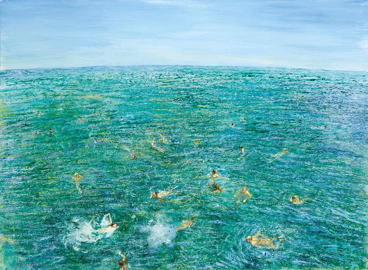 Maria Filopoulou, Swimming towards the horizon, 2001. Oil on canvas, 146 x 198cm.