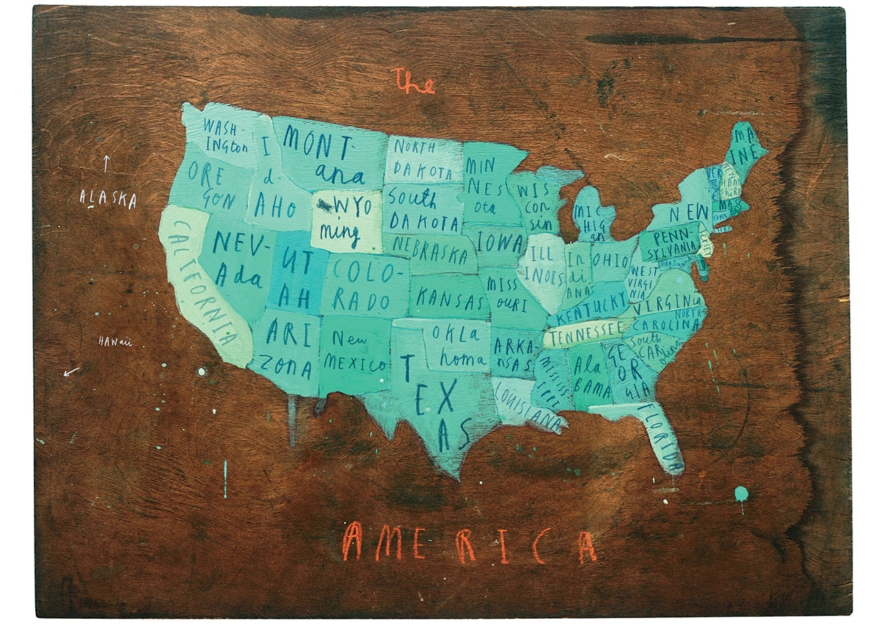 "PLACES IN AMERICA 2009oil and chalk on wood16"" x 27 1/2"" © Oliver Jeffers."