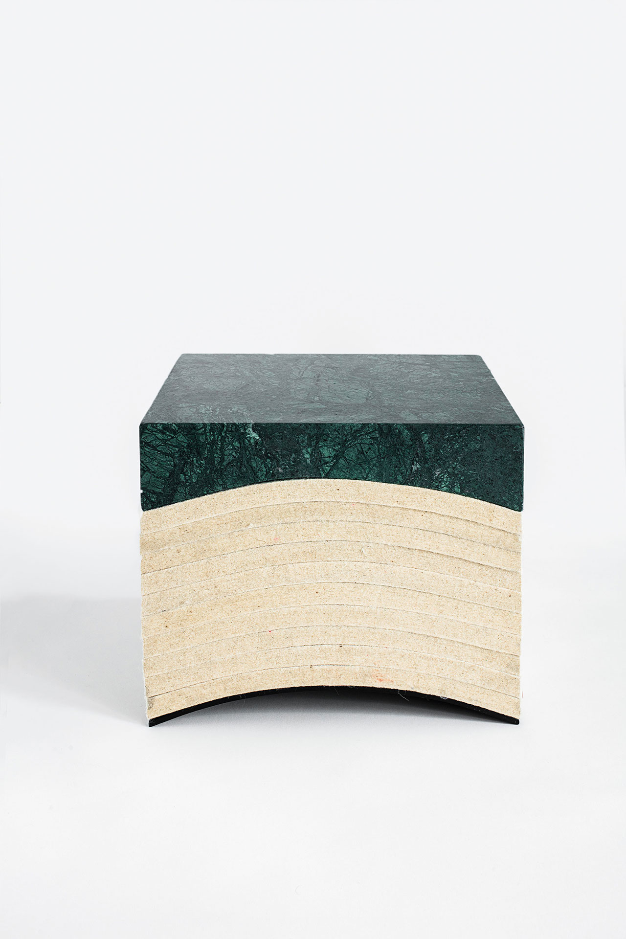 Objects of Common Interest, Layer Stool, 2016. Marble, Wool Felt, Steel. Photo by Matthieu Salvaing.