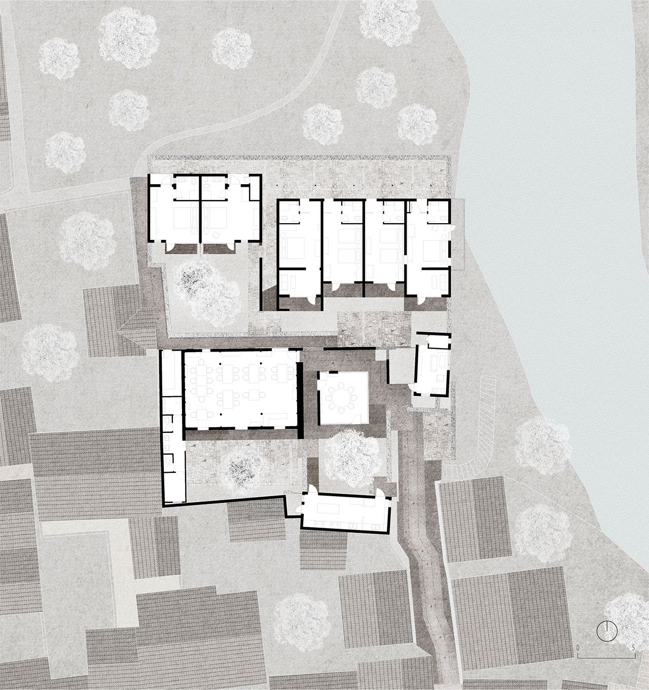 1st-4th courtyard house first floorplan. © genarchitects.