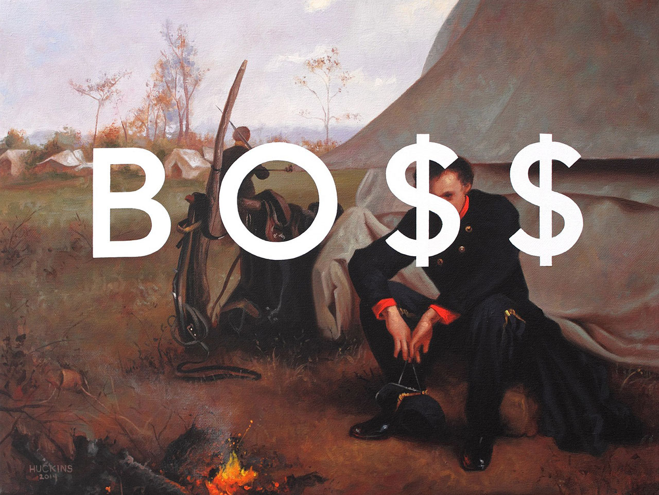 Shawn Huckins, At The Front: Boss, acrylic on canvas, 12 x 16 in (30 x 41 cm)2014. Private collection, San Francisco, CA.