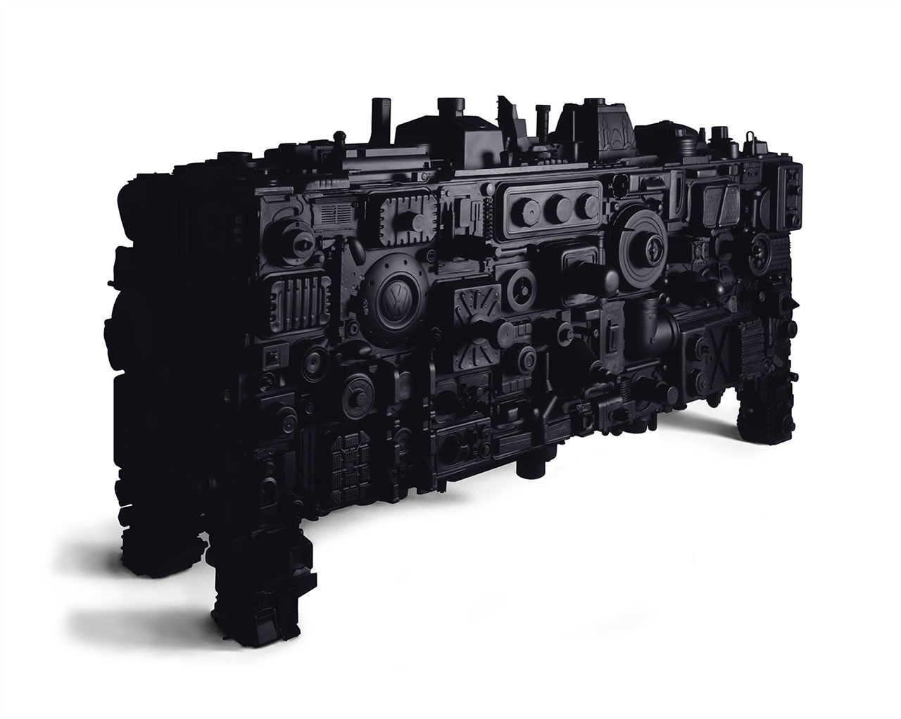 Stuart Haygarth, Barnacle (Black), 2009. Black polyester resin, steel, painted MDF. Photo courtesy Carpenters Workshop Gallery.