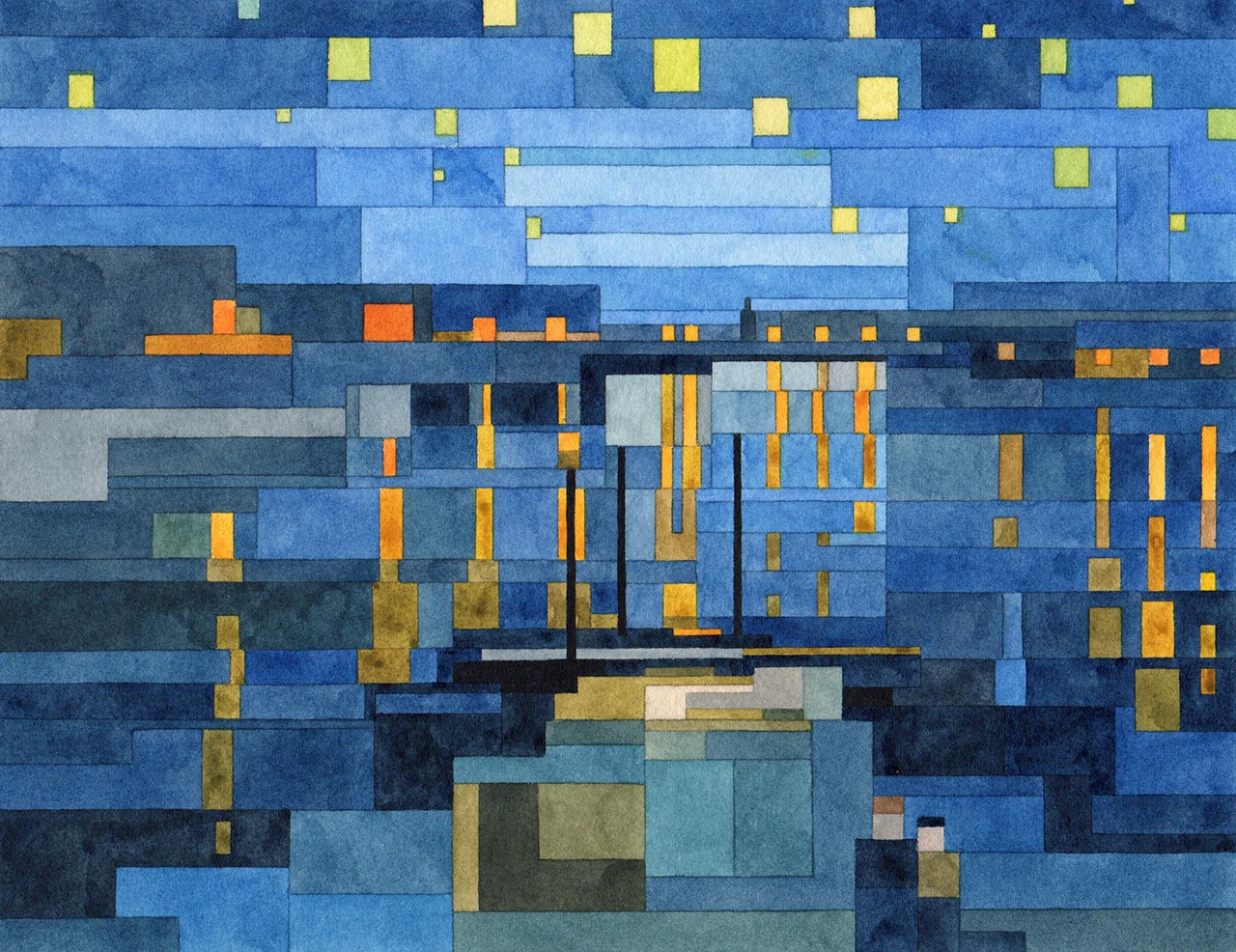 Adam Lister, Starry Night Over the Rhone. Geometrical watercolour inspired by Van Gogh © the artist.