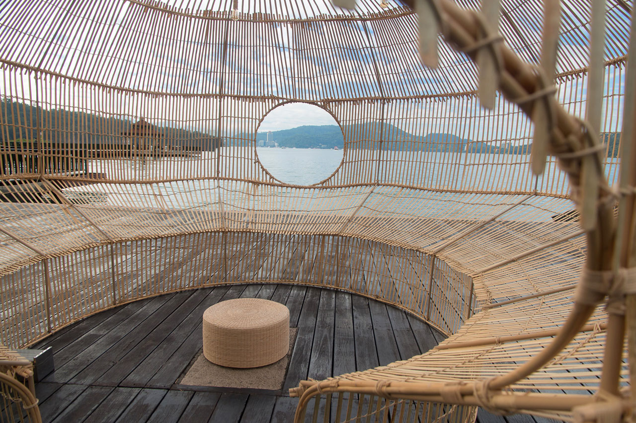 Cheng-Tsung Feng, Fish Trap House, 2017. Installation view at Ita Thao Pier, Sun Moon Lake, Nantou, Taiwan. Bamboo, Rattan, Stainless steel, 500x500x330cm. Photo by Chong Sheng Hsu.