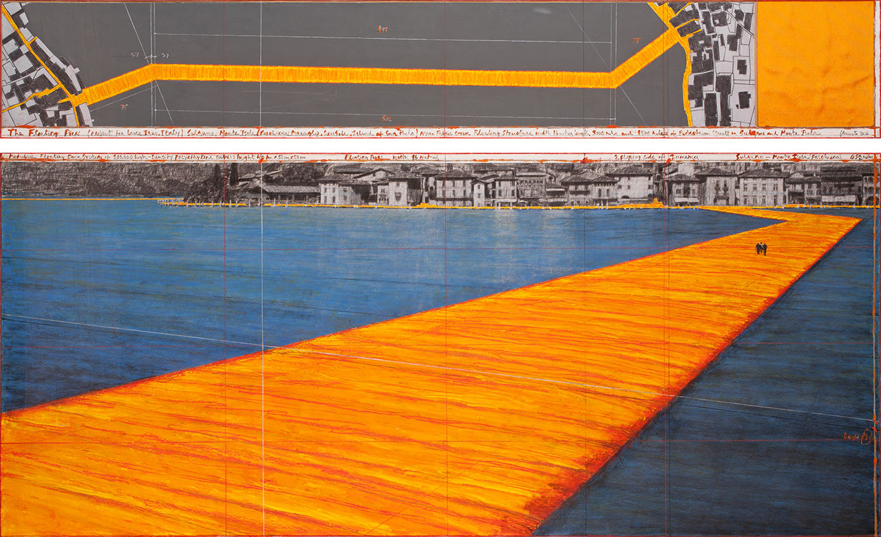 "Christo, Drawing 2016 in two parts. 15 x 96"" and 42 x 96"" (38 x 244 cm and 106.6 x 244 cm). Pencil, charcoal, pastel, wax crayon, enamel paint, cut-out photographs by Wolfgang Volz, hand-drawn map and fabric sample. Photo by André Grossmann © 2016 Christo."