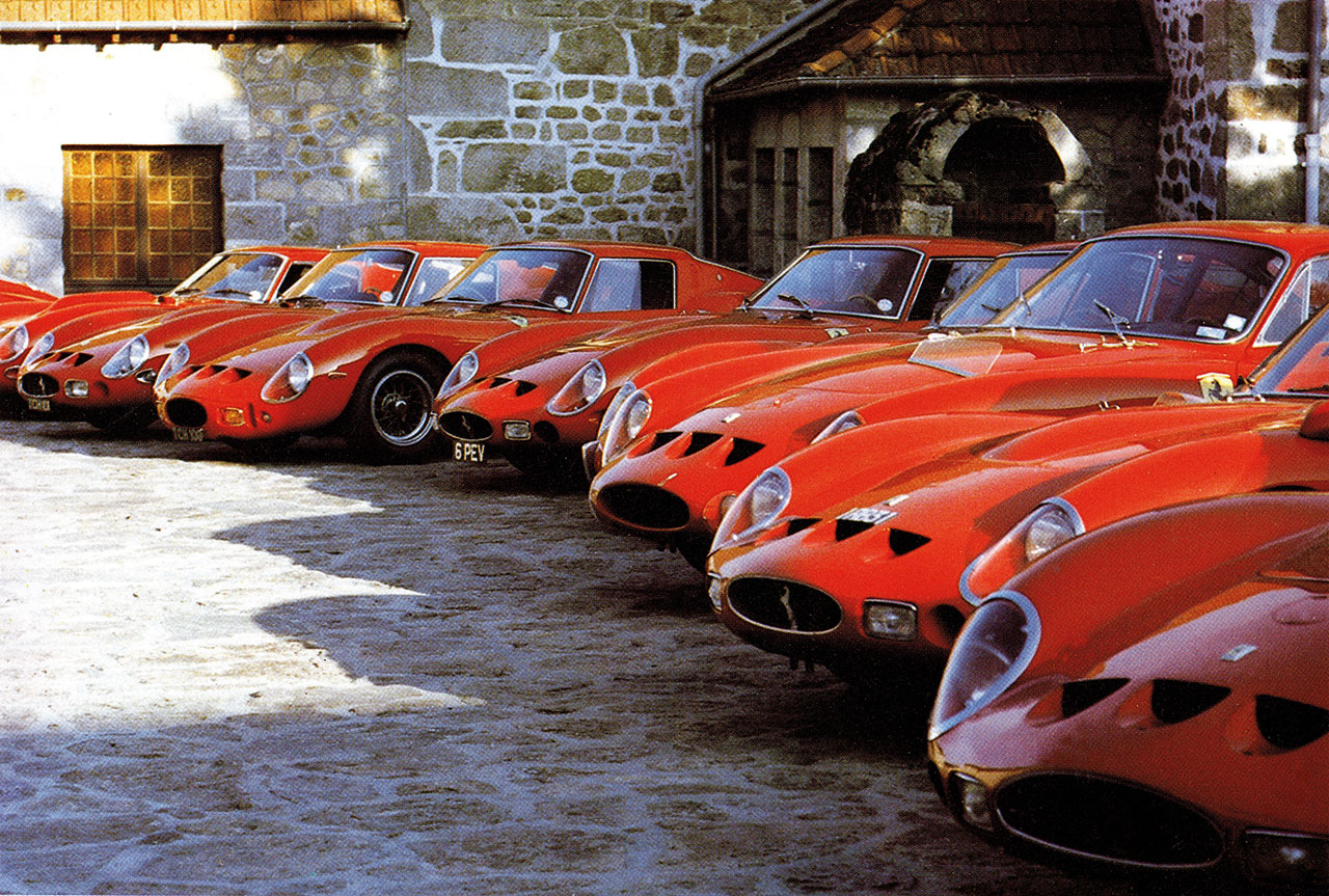 Meeting on the 20th Anniversary of the 250 GTO. In the picture deployment of GTOs in the estate of Pierre Bardinon.Photo courtesy of Ferrari.