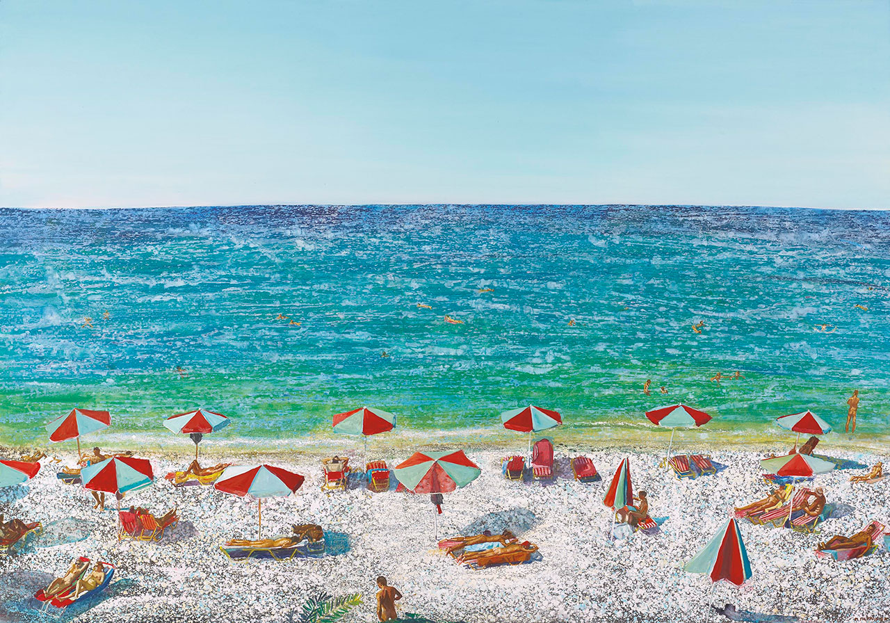 Maria Filopoulou, The beach, 2002. Oil on canvas, 180 x 250cm.