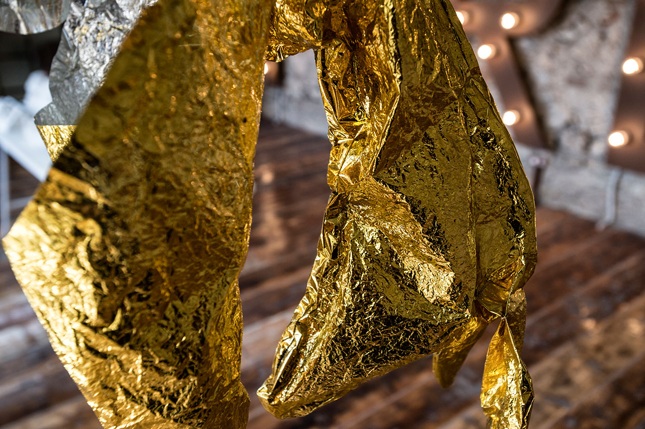 Pantelis Chandris, Exuvia (detail), 2014, mylar foil, 78x30x127cm. Installation view. Pirée, Piraeus, Greece. Styling by Costas Voyatzis, photo by Kosmas Koumianos for Yatzer.com, © Pirée, 2016.