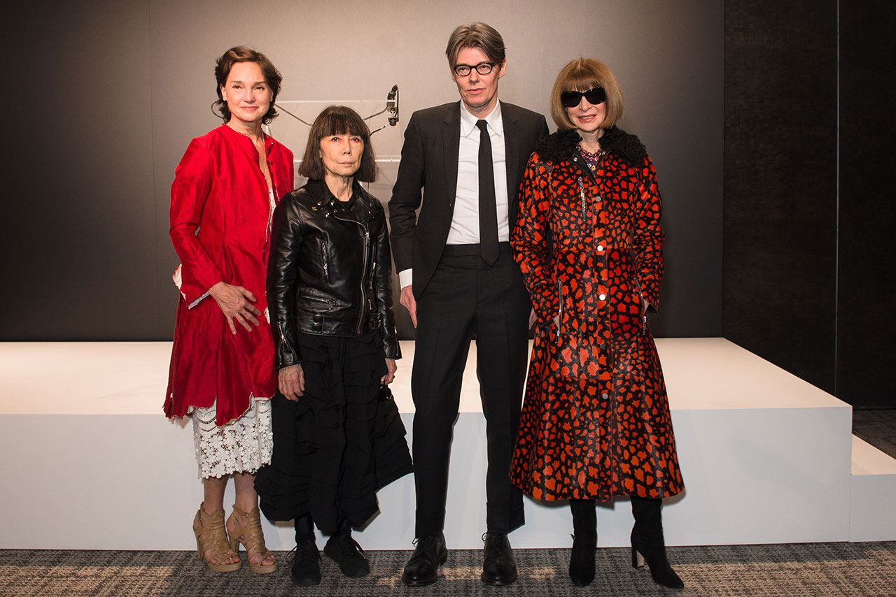 (from left) Carrie Rebora Barratt, ReiKawakubo, Andrew Bolton, and AnnaWintour at The Met's Rei Kawakubo/Comme des Garçons: Art of the In-Between advance press event. Courtesy of The Metropolitan Museum of Art/BFA.com.