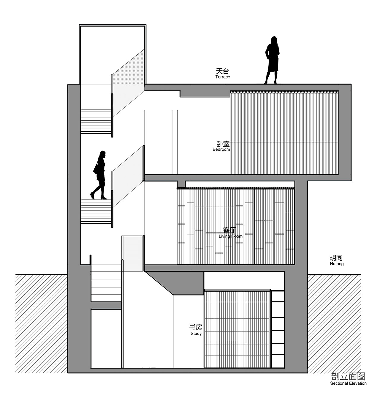 Sectional Elevation Plan © ARCH STUDIO.