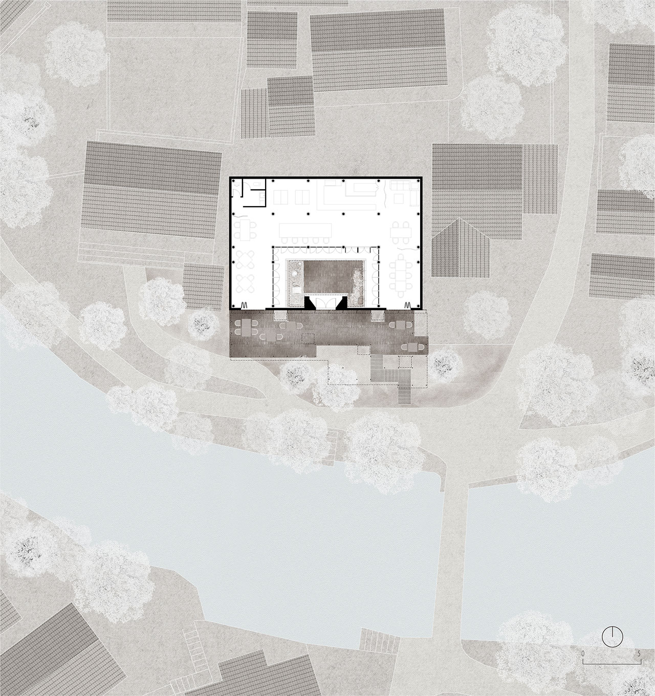 5th courtyard house first floorplan. © genarchitects.