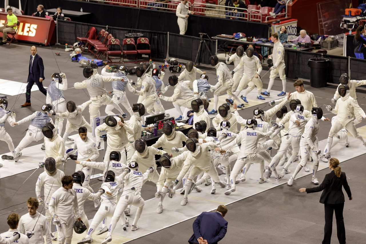 Pelle Cass, Men's fencing close up from 'Crowded Field Series'. © Pelle Cass.