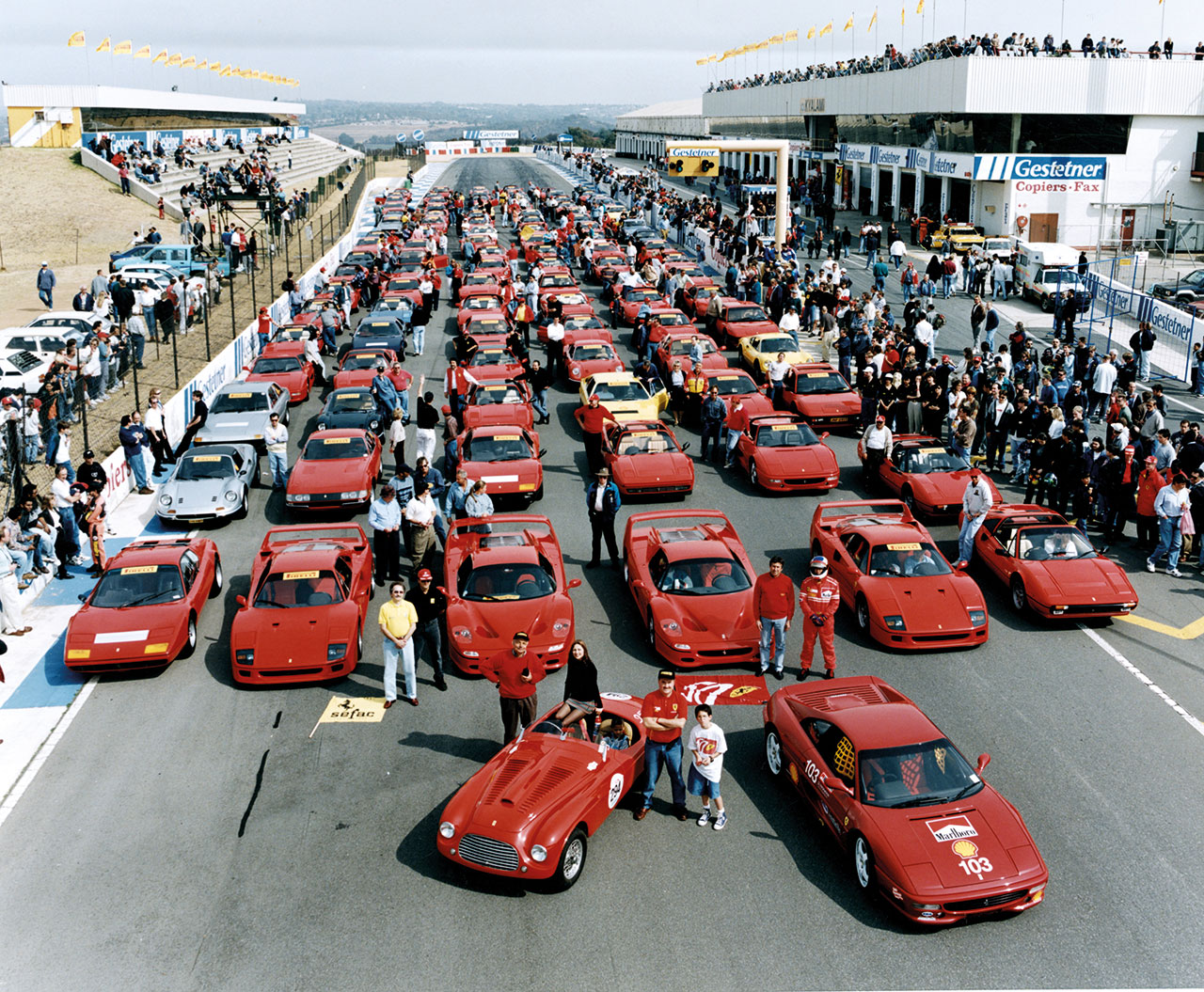 Rally of the South African Ferrari Clubs on the Kyalami Circuit for the 50th Anniversary Celebration, 1997. Photo courtesy of Ferrari.