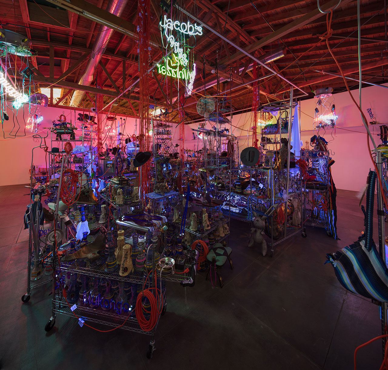 Jason Rhoades, The Black Pussy... and the Pagan Idol Workshop, 2005. Mixed media. Dimensions variable. Installation view, 'Jason Rhoades. Installations, 1994 – 2006'. Hauser & Wirth Los Angeles, 2017 © The Estate of Jason Rhoades. Courtesy the estate, Hauser & Wirth, David Zwirner and lender. Photo by Fredrik Nilsen.