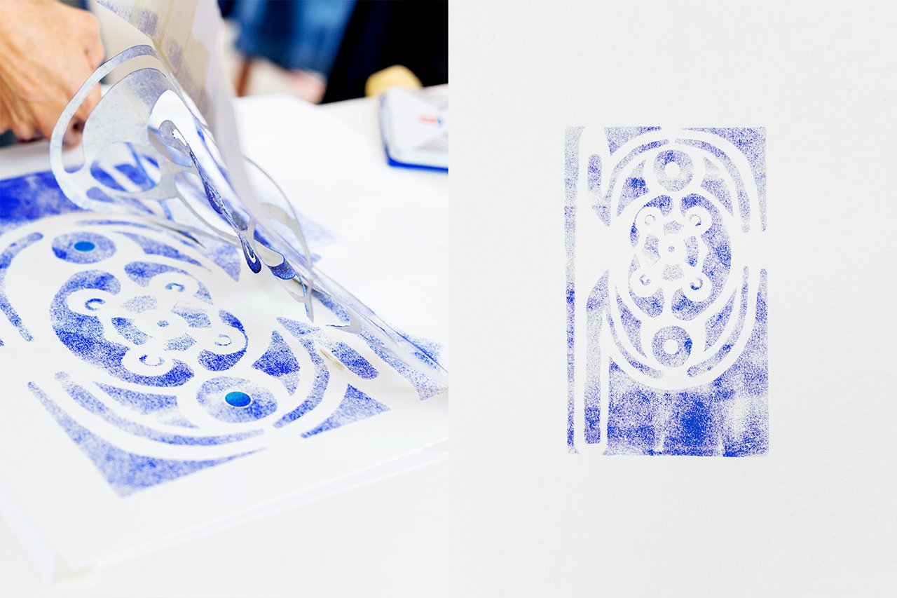 P _ by Scilla Alberini Column bas-relief (Paper, stamp ink, stencil) Photo by Francesca Iovene.