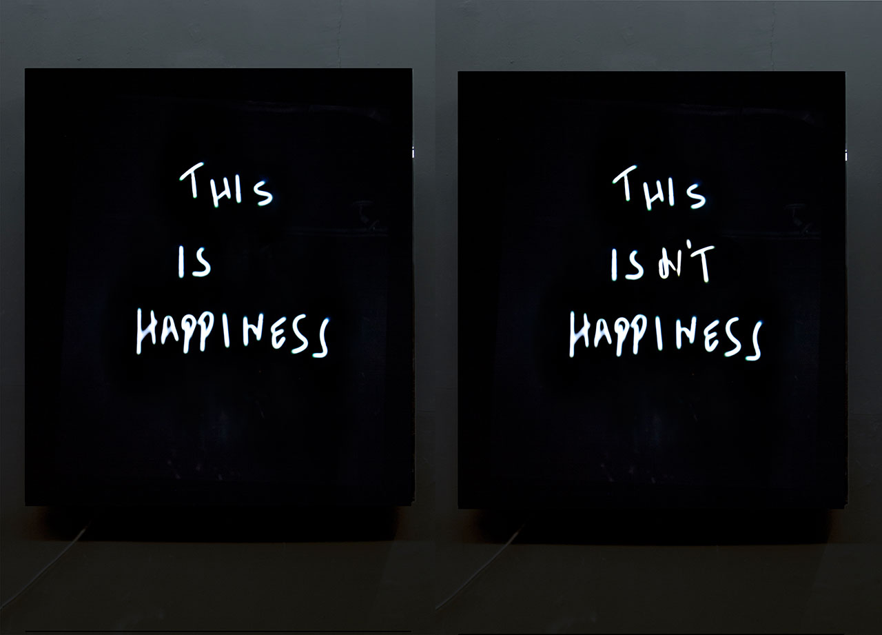 "Aldo ChaparroThis is / isn't Hapiness, 2014Neon and acrylic box39.37 in. x 47.24 in. x 2.7 in. (100 cm x 120 cm x 7 cm).  This work is a single acrylic box, on which the letters ""n't"" flash on and off, thus constantly changing the written phrase's meaning."