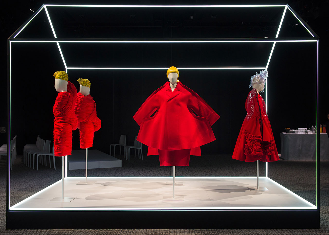 Rei Kawakubo for Comme des Garçons objects on display at The Met's Rei Kawakubo/Comme des Garçons: Art of the In-Between advance press event. Courtesy of The Metropolitan Museum of Art/BFA.com.