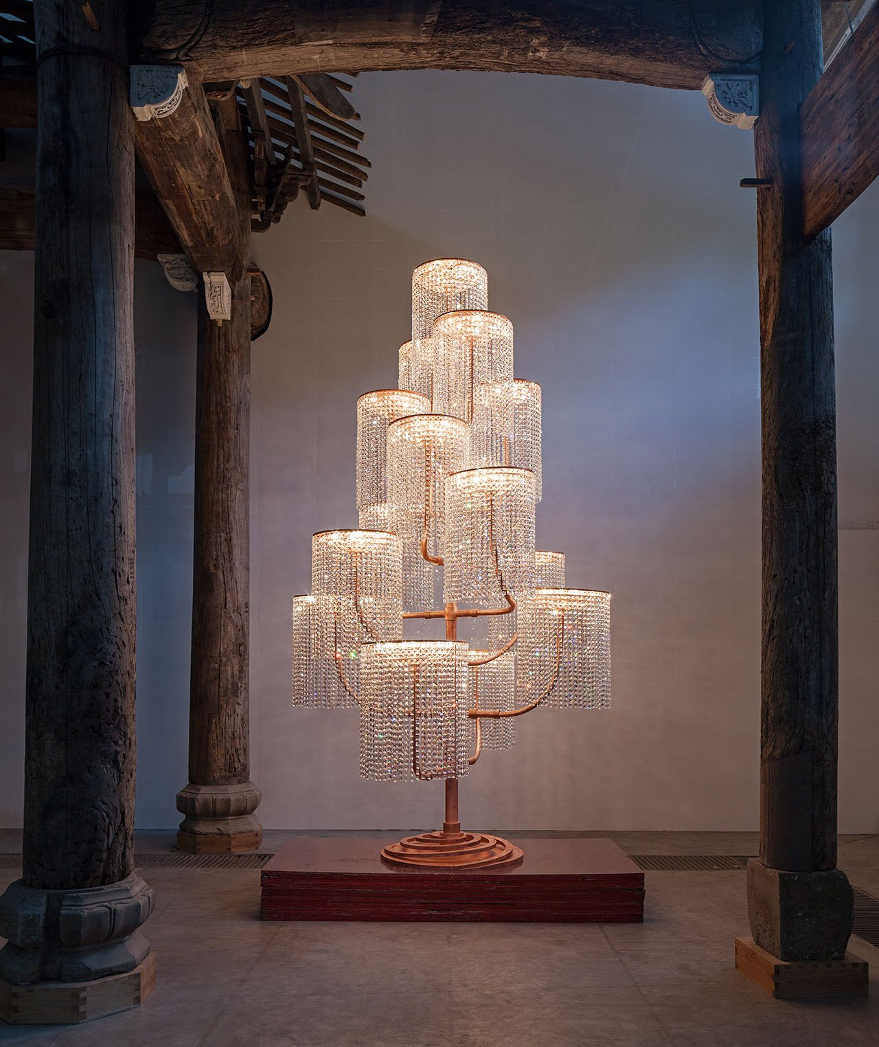 Chandelier, 2015. Copper, crystal and light fixtures, 400 x 240 x 230 cm © and courtesy  of Ai Weiwei Studio.