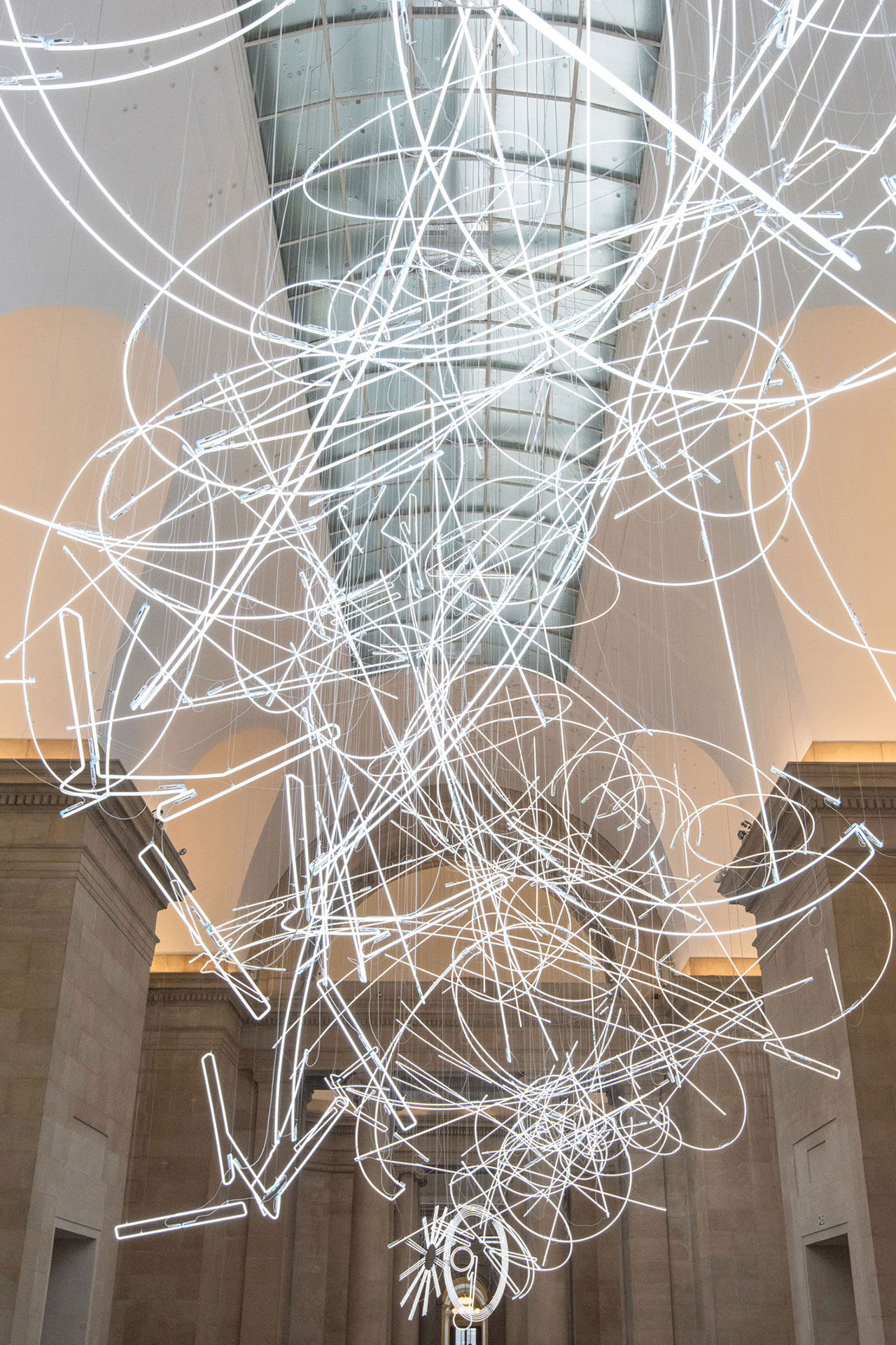 Cerith Wyn Evans, Forms in Space...by Light (in Time), 2017. Tate Britain Commission by Cerith Wyn Evans, Duveen Galleries. © Cerith Wyn Evans, courtesy White Cube. Photo: Joe Humphreys © Tate, London 2018.