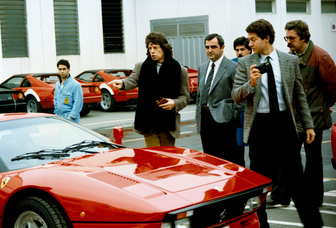 Visit to Ferrari - Mick Jagger, lead singer of the Rolling Stones, on the delivery of his GTO. Photo courtesy of Ferrari.