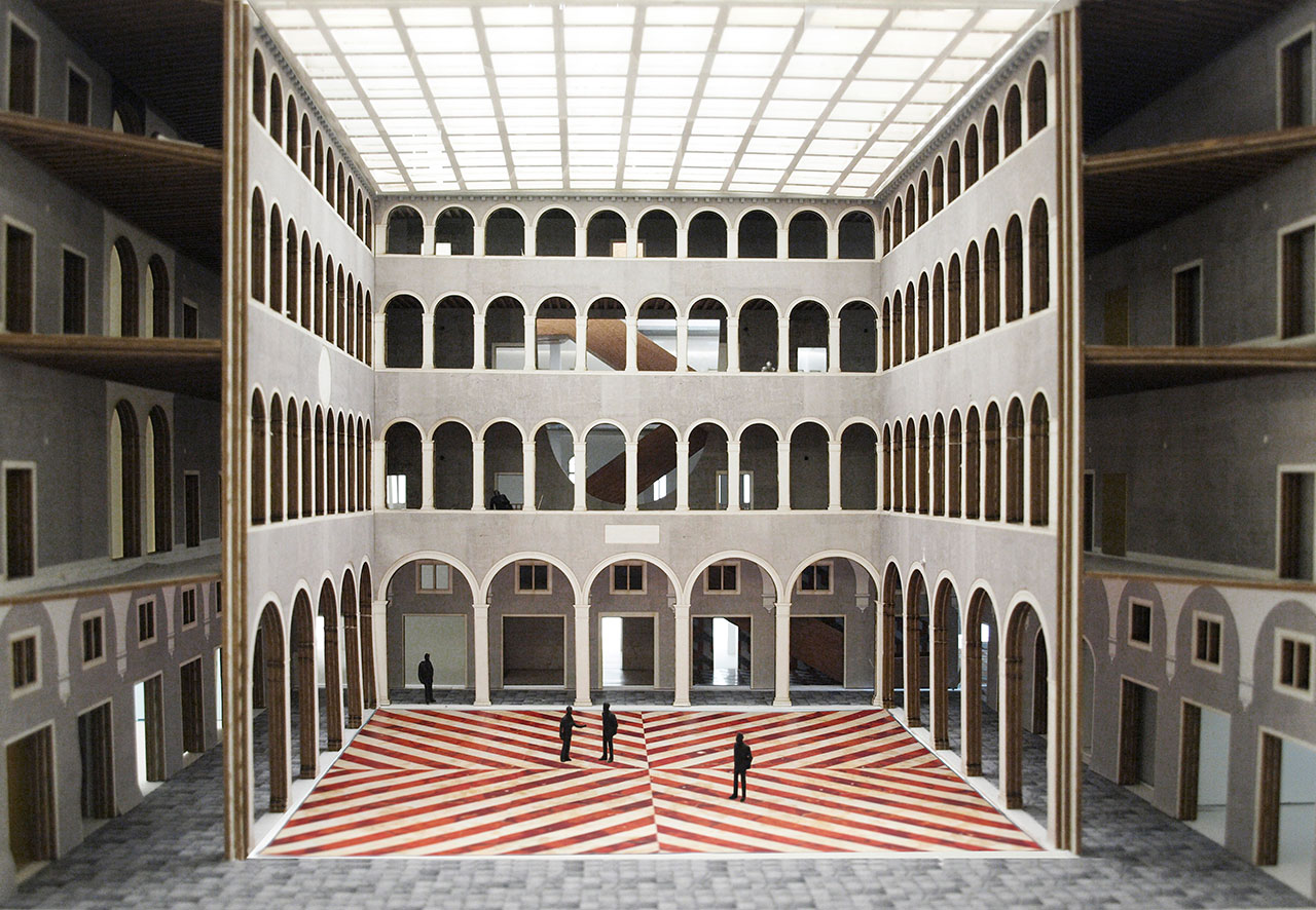 Il Fondaco dei Tedeschi, the courtyard with OMA designed floor pattern made of Istria's stone and Rosso di Verona marble, model picture. Image courtesy OMA.