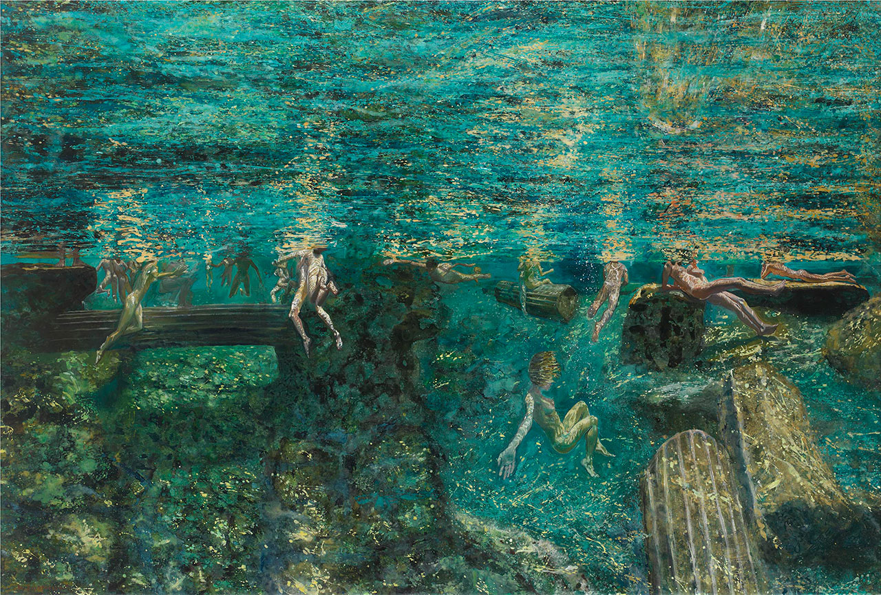 Maria Filopoulou, Underwater swimmers, ancient pool II, 2013-2014. Oil on canvas, 135 x 200cm.